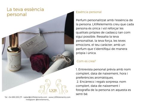 PRODUCTE_ Essència personal. Perfum personalitzat amb l'essència de la persona. LXIRelements creu que cada persona és única i vol reforçar les qualitats pròpies de cadascú